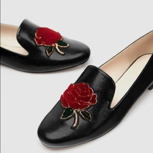 Zara Collection Black Lacquer Velvet Rose Loafers.